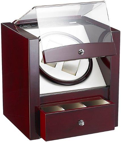 Edler Design-Uhrenbeweger für 2 Uhren, Rotholz