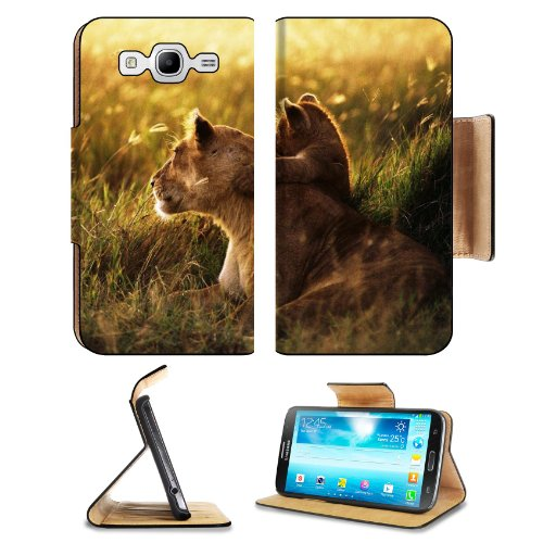Lion Lion Cub Family Cub Caring Baby Sunshine Samsung Galaxy Mega 5.8 I9150 Flip Case Stand Magnetic Cover Open Ports Customized Made To Order Support Ready Premium Deluxe Pu Leather 6 1/2 Inch (165Mm) X 3 2/5 Inch (87Mm) X 9/16 Inch (14Mm) Liil Mega Cove