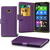 ONX3 Purple Nokia X Protective Faux Credit / Debit Card Leather Book Style Wallet Skin Case Cover & LCD Screen Protector Guard