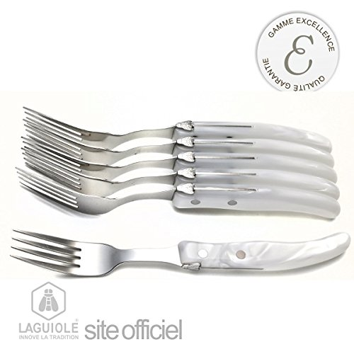 Laguiole 6 Forks. Set Of 6 Authentic Hand-Made Laguiole Forks, White, Very Trendy. Stainless Steel. Excellence Cutlery Of Laguiole, With Natural Wood Box. Around 40 Stages In The Workshop To Achieve This Optimum Result, Including Laser Cutting, Sharpening