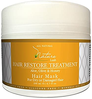 Nature Lush Hair Mask with Honey, Aloe Vera & Olive Oil - Deep Conditioner - Restore Dry, Damaged or Color Treated Hair After Shampoo, Best for All Hair Types - Parabens & Silicones Free - 6.7 fl oz.