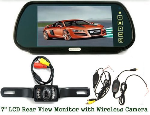 """Sourcingbay 7"""" Tft Color Monitor Mirror + Wireless Car 7 Ir Rearview Parking Camera Kit"""