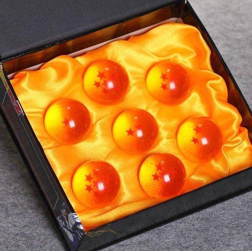 Dragonball Z - Cofanetto con le 7 sfere del drago, in cristallo, raggio: 4 cm, colore: Arancione/Giallo/Blu