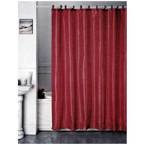 ... Dark Red Fabric Shower Curtain With Fabric Covered Hooks (72inX72in