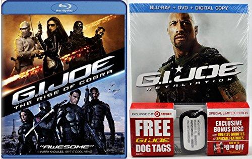 G.I. Joe Retaliation Exclusive (Blu-ray + DVD) 2012 & G.I. Joe Rise of the Cobra Pack Movie with Dog Tags Sci-Fi Action set