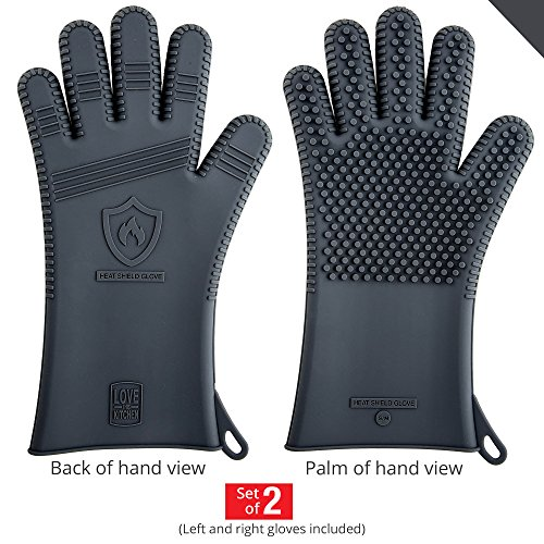 Holiday Sale! Latest Technology in Men's Silicone Barbecue Gloves - Heat Resistant for Grilling, Cooking & Smoking Protection, Great BBQ, Grill & Oven Mitts - Restaurant Tested - 13.5