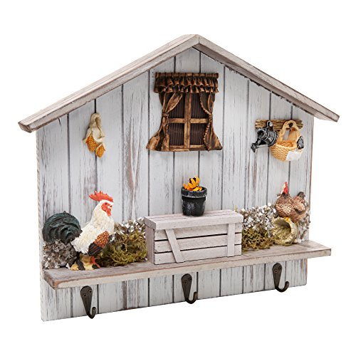 Shabby Chic Wooden Home Decor Rooster Design Wall Mounted 3 Hook Towel Hanger Storage Coat Rack Organizer