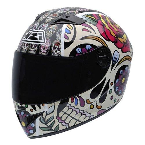 NZI 050261G582 Motorcycle Full Face Helmet, Mediumexican Skulls, Small
