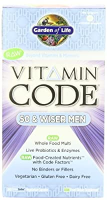 Garden of Life Vitamin Code Raw 50 and Wiser Men's Multivitamin, 240 Capsules (Pack of 3)