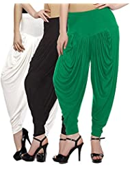 Fashion And Freedom Women's Pack Of 3 White, Green And Black Viscose Dhoti