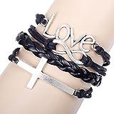 Unisex Black and White Love Theme Adjustable Length Closer Hearts Wrap Bracelet