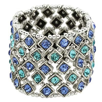 Crystal Stretch Rhinestone Bracelet (5 rows - Gold)