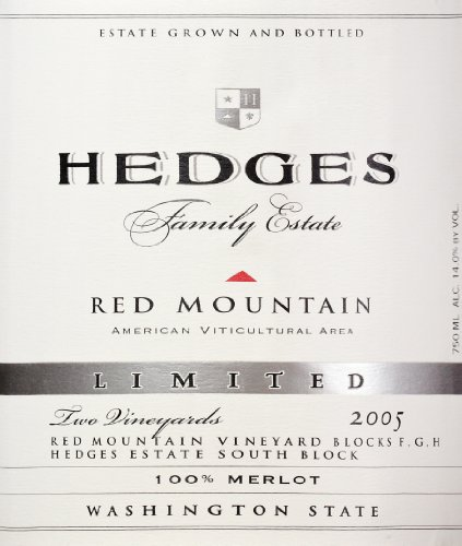 2005 Hedges Family Estate Single Vineyard Limited Merlot 750 Ml