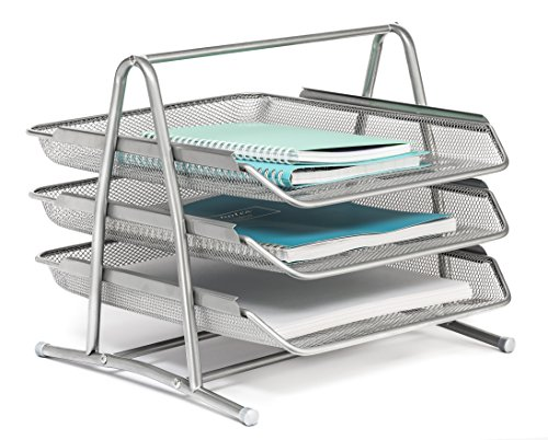 Mindspace 3 Tier Desk Tray Office Organizer | The Mesh Collection, Silver (Wooden Document Tray compare prices)