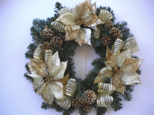 Gold Poinsettias, Gold Pine Cones and Ribbons
