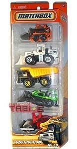 2010-2011 MATCHBOX 5 PACK, (King J) CONSTRUCTION cars trucks #10: Skidster (Orange), Quarry King (White), Dump Truck (Black/Yellow), Ground Breaker (Green), Road Roller (Red)