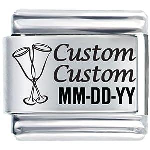 Pugster Celebration Name And Date Custom Italian Charms Bracelet Link