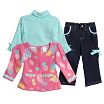 Baby Togs Girls 2-6X 3 Piece Denim Bow Detail Pant Set, Pink, 6