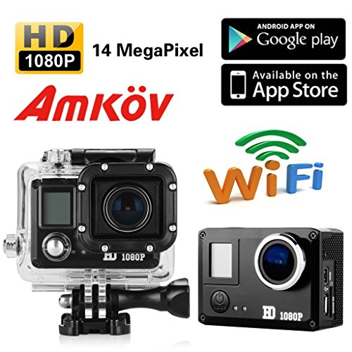 Amkov Sj5000 Wifi 20mp 1080p Lcd Display 170°a+ Hd Wide-angle X4 Zoom Mini Size Portable Micro USB Support 32g Tf Card with 1150mah Rechargeable Battery Underwater 30m Include Various Accessories Full