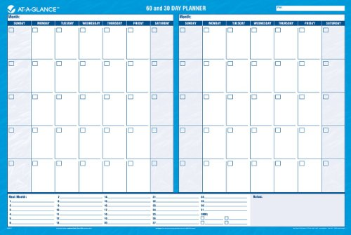 At a glance wall planner calendar undated erasable 30 for Day at a glance calendar template