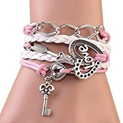 Sortitio's Heart of Love Lock Key Pink Bracelet