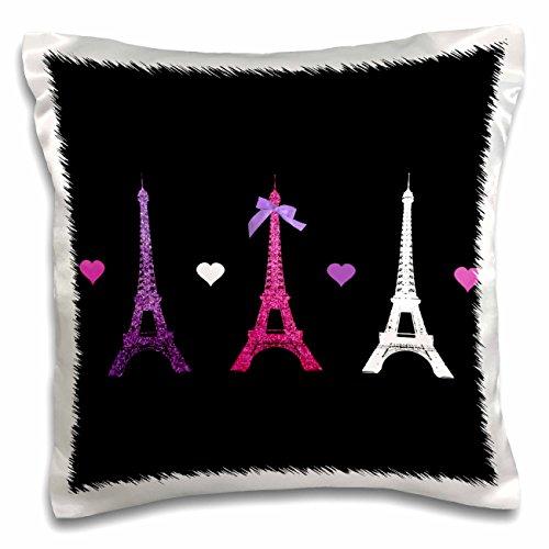 Paris Eiffel Tower Pillow 16 X 16: Hot Pink Purple Black Paris