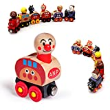 Set Of 6 Wooden Magnetic Bread-shape Little Train Model Educational Toys