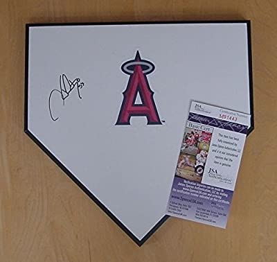 Hector Santiago Los Angeles Angels Autographed Signed Baseball Home Plate JSA COA
