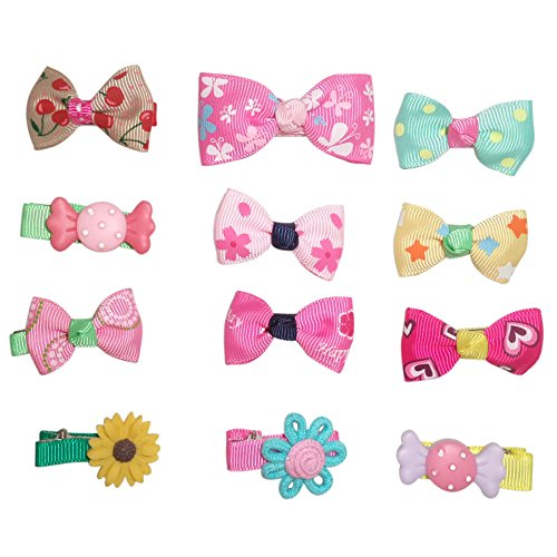 Hair Clips Barrettes Ribbon Bows - 12 Pcs Of Uniquely Designed For Baby, Toddler, And Young Girls front-873380