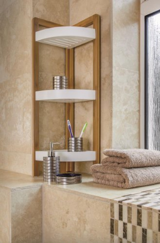 BAMBOO 3 TIER BATHROOM FREE STANDING SHOWER CORNER CADDY TIDY ORGANISER SHELVES by Blue Canyon