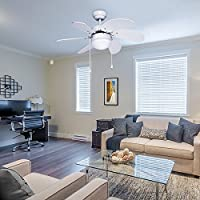 LE 76cm Ceiling Fan with 6 Wooden Blades and Light Kit, Reversible Classic Ceiling Fan for Winter and Summer Use by Lighting EVER