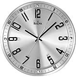 Bulova C4646 Silhouette Clock, Brushed Stainless Steel Finish