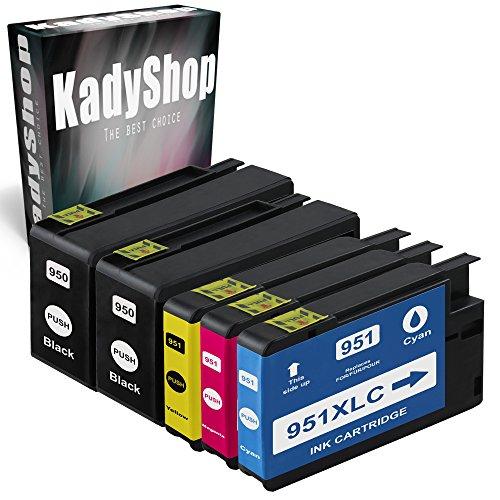 5er Set Druckerpatronen Kompatibel für Hp 950 XL + HP 951 XL (2x Schwarz, 1x Cyan, 1x Magenta, 1x Yellow), HP Officejet Pro 8615 e-All-in-One 8620 e-All-in-One 8640 e-All-in-One 8610 e-All-in-One 8660 e-All-in-One 8600 e-All-in-One 251 dw 8100 ePrinter 276 dw 8600 Plus e-All-in-One 8600 Premium e-All-in-One 8630 e-All-in-One hp950/951-5erSet