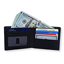RFID Blocking Wallet by Spenci - Genuine Leather - Protect your credit cards! (Pebbled Black)