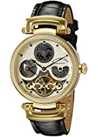 Stuhrling Original Magistrate Men's Automatic Watch with Gold Dial Analogue Display and Black Leather Strap 353A.333531