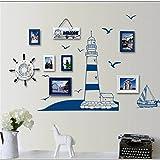New Blue Ocean Lighthouse Seagull Photo Frame DIY Wall Stickers Home Nautical Decor Wall Art Bedroom Living Room Free Shipping HF21 Blue Medium