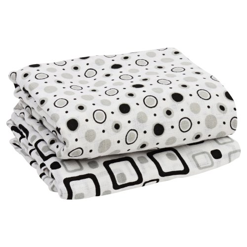"juDanzy Geometric Black & Gray 100% Cotton Swaddle Set of 2 Large 45""X45"" Muslin Baby Girl or Boy Blankets"