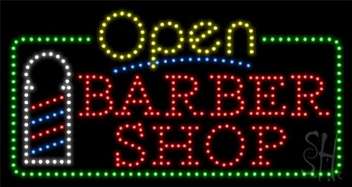 """Barber Shop Animated Outdoor Led Sign 17"""" Tall X 32"""" Wide X 3.5"""" Deep"""