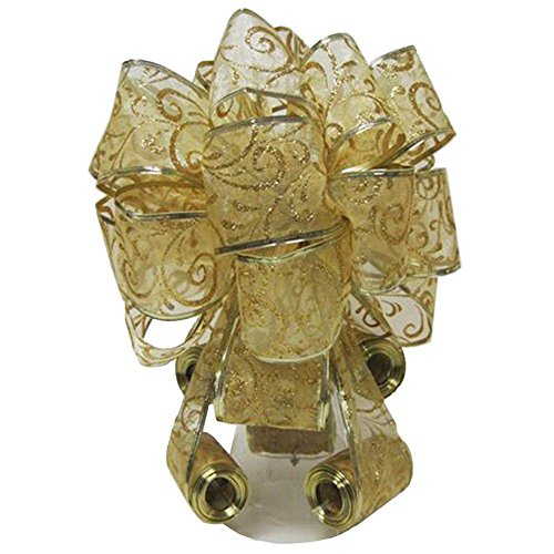 Elegant Decorative Christmas Tree Topper Bow, Gold