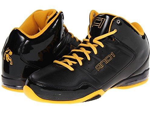 AND1 Men's Master Mid Basketball Shoe (17, Black/Black/Gold)
