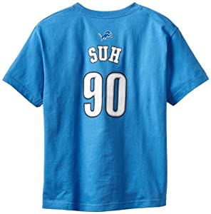 NFL Detroit Lions Ndamukong Suh 8-20 Boys Primary Gear S/S Tee (Lions Blue, Small)