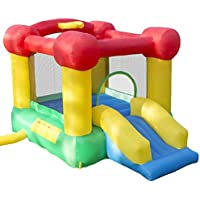 Hey Play Inflatable Castle Bounce House with Slide and Hoop