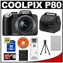 Nikon Coolpix P80 10.1 Megapixel Digital Camera with 18x VR Optical Zoom + 8GB SDHC Card + Card Reader + Spare EN-EL5 Battery + Digital Camera Case