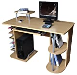 Computer Desk in Beech Finish with Keyboard Shelf, Home Furniture / Office Workstation #X23#