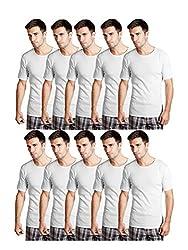 Essar Mens 100% Cotton White Vest Innerwear half sleeve Combo of 10 Pack (EssarWhiteHalfSleeve10-105Cm)