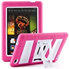 i-Blason All New Kindle Fire HD 7 Inch Tablet (2nd Generation) ArmorBox 2 Layer Convertible [Hybrid] Full-Body Protection KickStand Case with Built-in Screen Protector for Kids Friendly (Pink/White)
