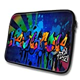 """Graffiti Names"" designed for Heathcote, Designer 14'' - 39x31cm, Black Waterproof Neoprene Zipped Laptop Sleeve..."