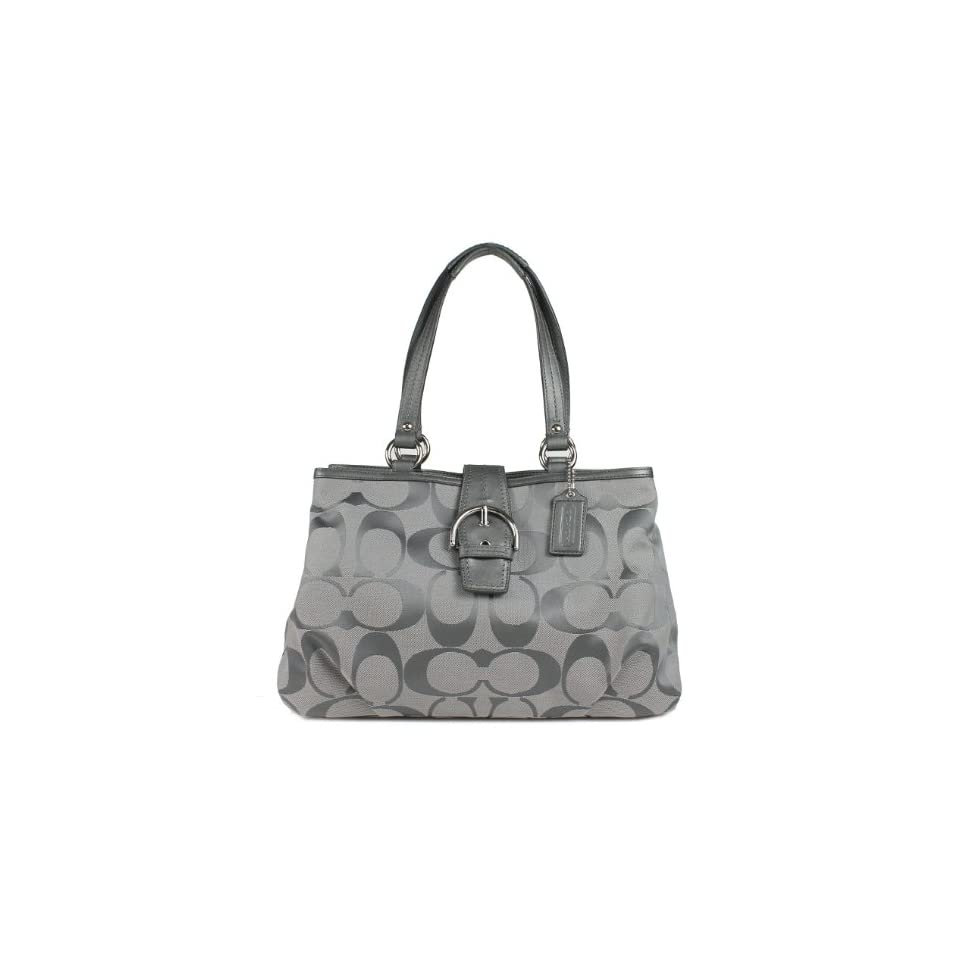 COACH Soho Signature Carryall Tote Bag Silver Gray F19253