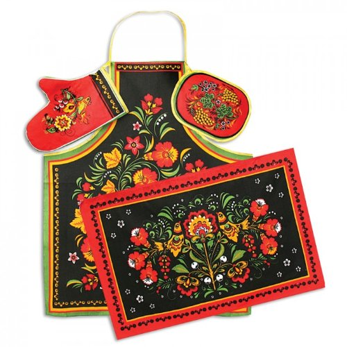 """Khokhloma"" Kitchen Textile Set (4 Pc.)"
