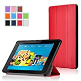 Fire HD 6 Case - Exact Amazon Fire HD 6 Case [SLENDER Series] - Ultra Slim Lightweight Smart-Shell Stand Case for Amazon Kindle Fire HD 6 (2014) Red